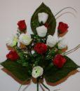 Искусственные цветы Бутон красно-белый R-96