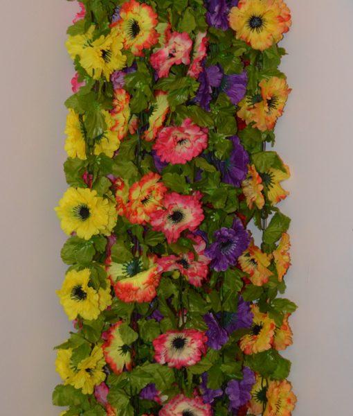 Искусственные цветы Цепочка маки цветные крупные С-9