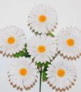 Искусственные цветы -Ромашка-гербера белая 6-ка R-134