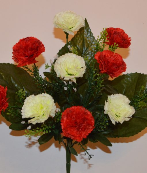 Искусственные цветы-Гвоздика красно-белая 10-ка R-306