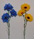 Искусственные цветы-Ветка ромашка.волошка.мак.подсолнух B-26