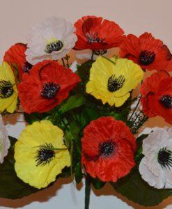 Искусственные цветы-Мак микс цветной R-320