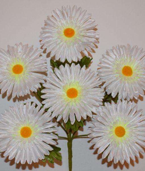 Искусственные цветы —Ромашка лущонка атласная белая 6-ка R-350
