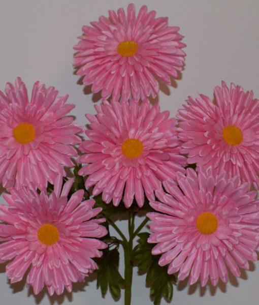Искусственные цветы —Ромашка лущонка атласная цветная 6-ка R-350