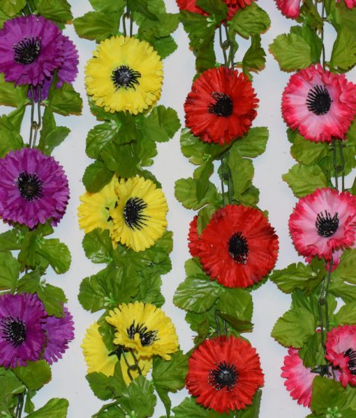 Искусственные цветы-Цепочка маки цветные С-19