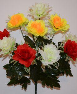 Искусственные цветы —Роза открытая с резеткой 10-ка R-374