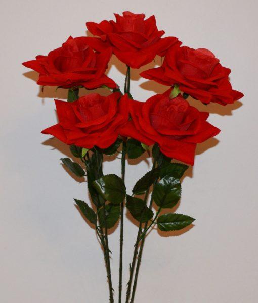 Искусственные цветы- Ветка Роза бархат крупная B-52