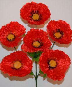 Искусственный цветок - Мак атласный 6-ка R-3