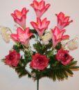 Искусственные цветы-Лилия+роза открытая с ёжиками не прес R-781