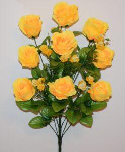 Искусственные цветы-Роза бутон с пластмасовыми розочками не прес R-818