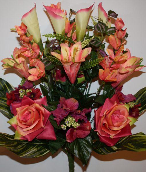 Искусственные цветы-Роза+лилия с азалией R-761