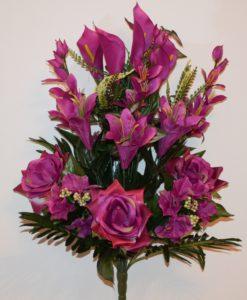 Искусственные цветы -Роза+лилия+кала с гортензией не прес R-755