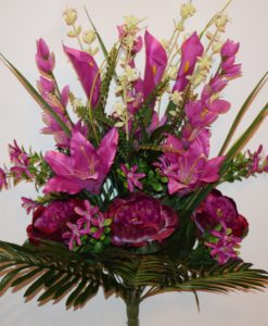 Искусственные цветы-Пион+лилия+кала с мимозой не прес R-878