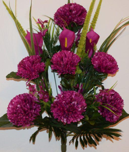 Искусственные цветы -Шар хризантема с калами непрес R-879