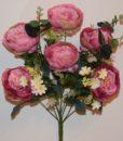 Искусственные цветы-Пион большой с евкалиптом непрес R-610