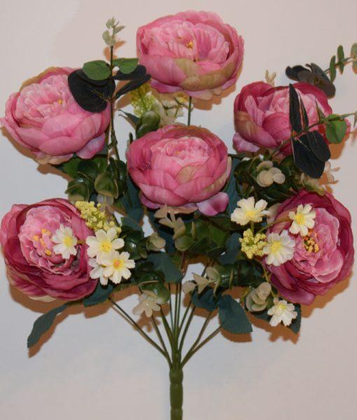 Искусственные цветы-Пион большой с евкалиптом непрес R-868