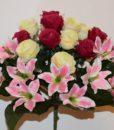 Искусственные цветы -Лилия+роза микс не прес R-757