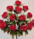 Искусственные цветы-Роза бутон с чёрным фатином 14 голов R-779