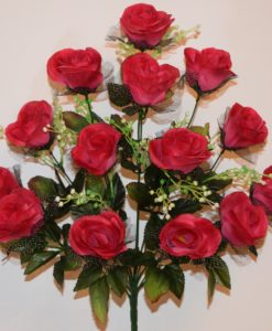 Искусственные цветы-Роза бутон с чёрным фатином 14 голов R-611