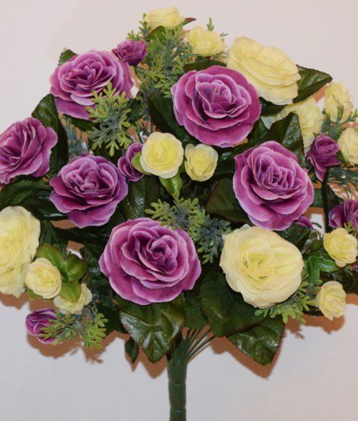 Искусственные цветы -Роза с туей микс непрес R-542