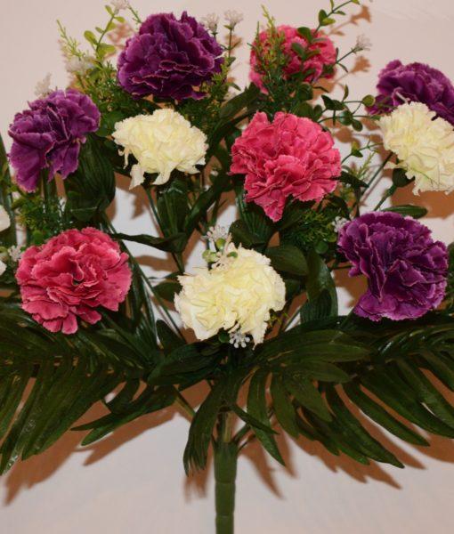 Искусственные цветы-Гвоздика комбинированая непрес R-649
