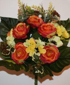 Искусственные цветы —Роза+гортензия с мимозой непрес R-654