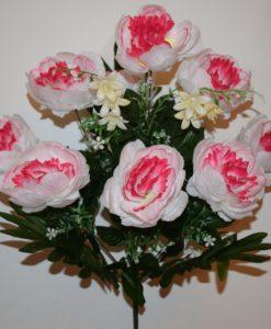 Искусственные цветы-Пион натуральный с пластмасками 9-ка непрес R-673