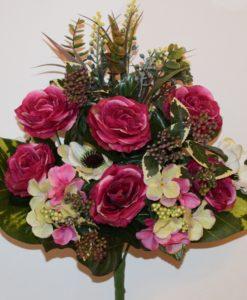 Искусственные цветы —Роза+гортензия с мимозой непрес R-891