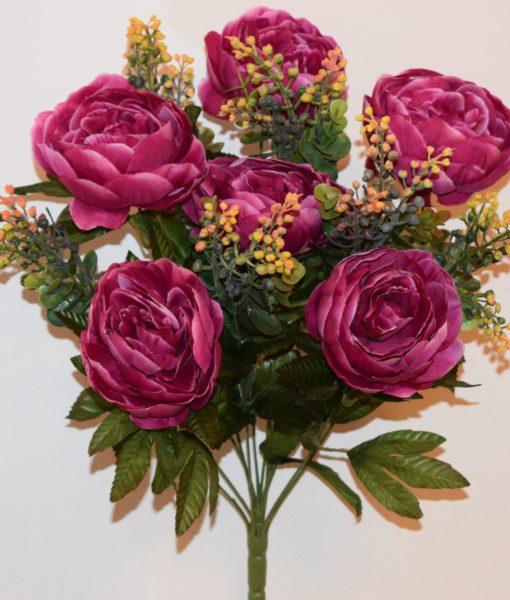 Искусственные цветы —Пион люкс с мимозой непрес R-656