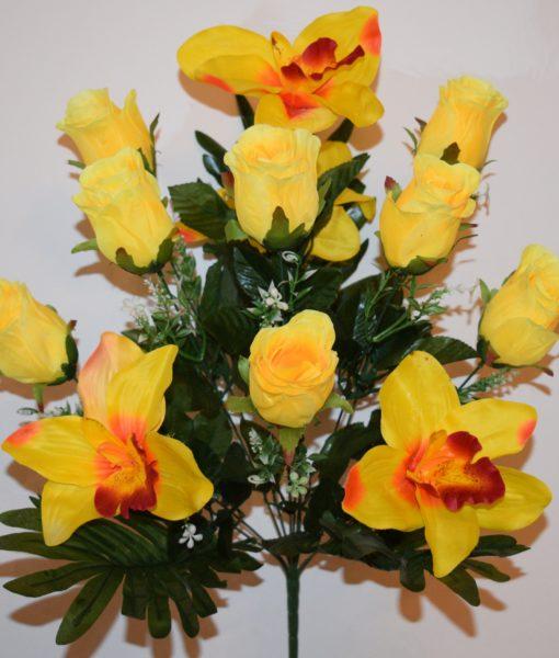 Искусственные цветы-Бутон с орхидеей 12-ка  непрес R-670
