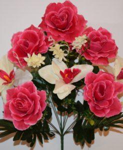 Искусственные цветы-Роза открытая с орхидеей 9-ка непрес R-880