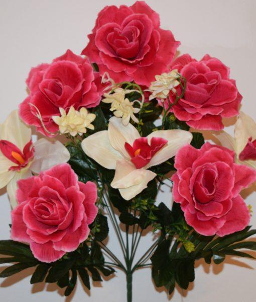Искусственные цветы-Роза открытая с орхидеей 9-ка  непрес R-671
