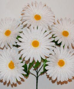 Искусственные цветы —Ромашка белая атлас крупная 6-ка R-883