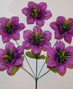 Искусственные цветы -Звёздочка атласная с пластмаской 6-ка R-623