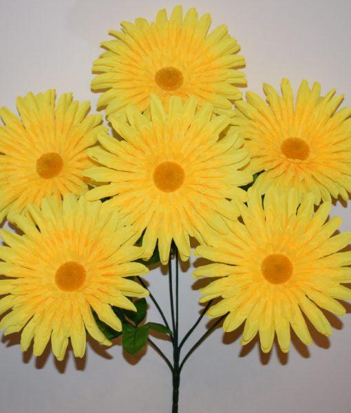 Искусственные цветы —Ромашка цветная атлас крупная  6-ка R-882