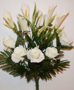 Искусственные цветы -Роза бутон+кала с пластмасками непрес R-898