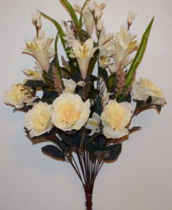 Искусственные цветы -Роза люкс с лилиями R-624