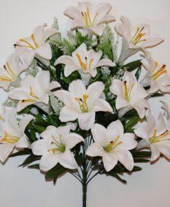 Искусственные цветы-Лилия люкс белая с пластмасками не прес R-720