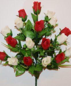Искусственные цветы-Роза бутон с пластмасками 18-ка не прес R-715