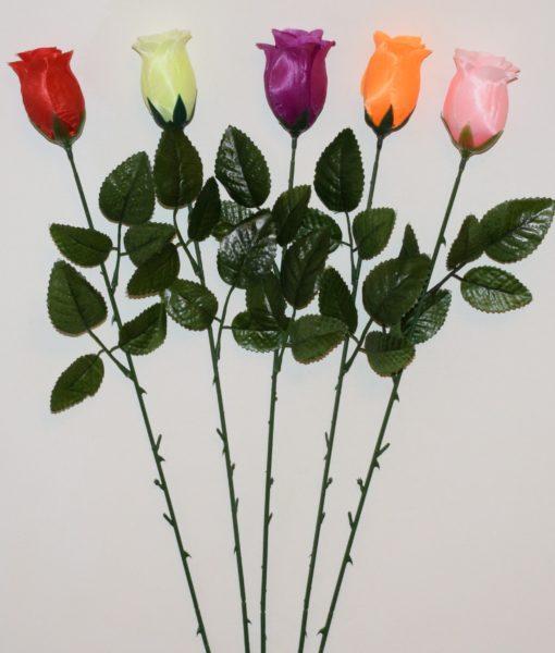 Искусственные цветы- Ветка Роза бутон атлас B-81