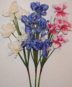 Искусственные цветы- Ветка Ирис натуральный 5-ка B-80