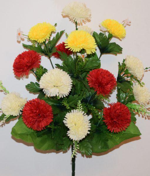 Искусственные цветы-Хризантема микс цветная 15-ка R-748