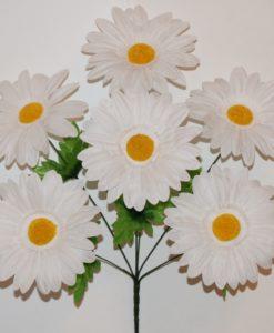 Искусственные цветы-Ромашка белая 6-ка R-731
