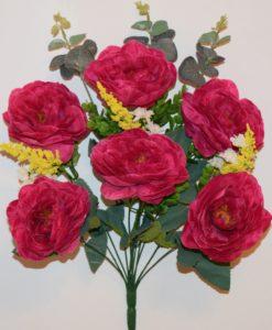 Искусственные цветы-Пион с евкалиптом 6-ка R-743