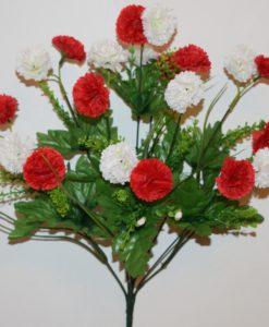 Искусственные цветы-Гвоздика цветная с пластмасками R-607