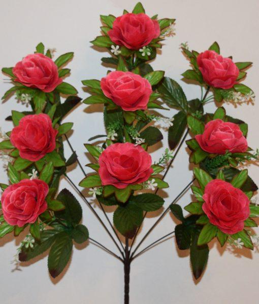 Искусственные цветы -Роза камелия с пластмасками 9-ка R-767