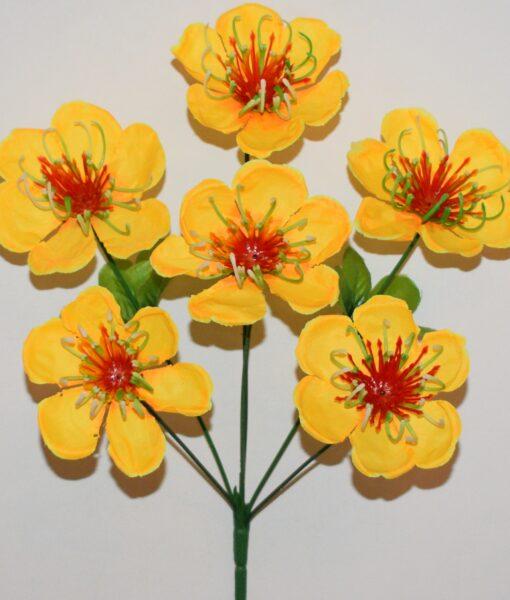 Искусственные цветы-Мальва твердая средина 6-ка R-788
