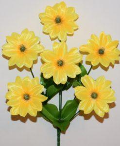 Искусственные цветы-Ромашка цветная атлас 6-ка R-790