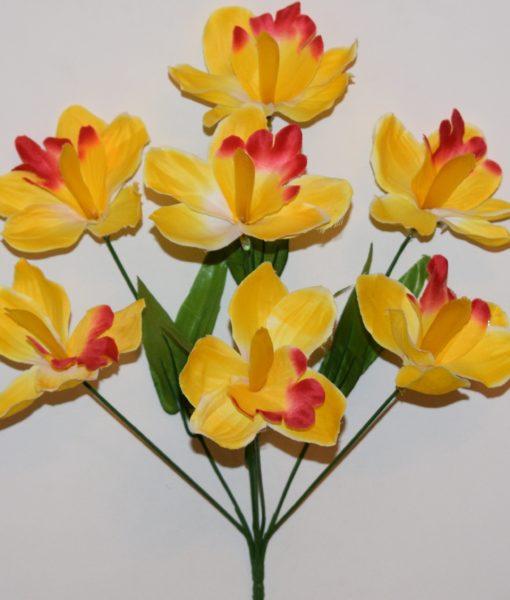 Искусственные цветы Ирис-орхидея натуральный 7-ка R-83