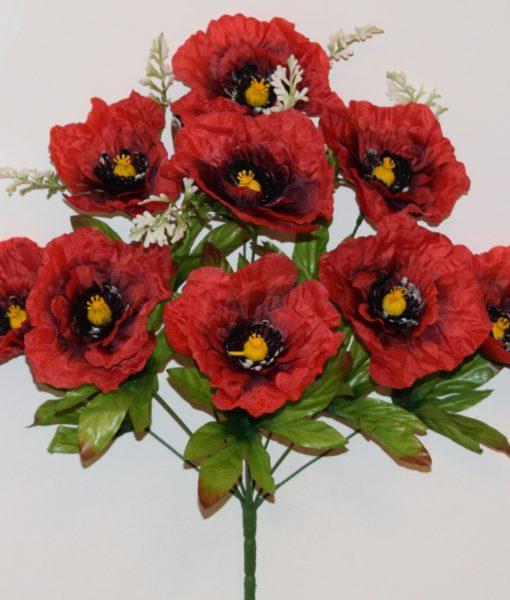 Искусственные цветы-Мак атласный большой 9-ка R-805